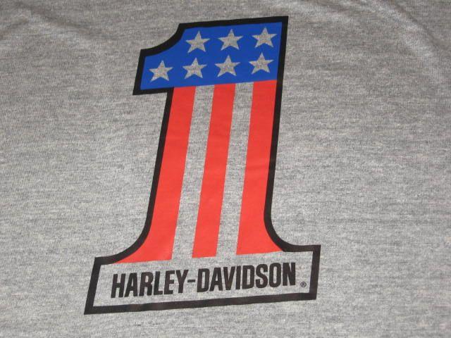 vintage 80s RAYON TRI BLEND HARLEY DAVIDSON MOTORCYCLE T Shirt XL gray