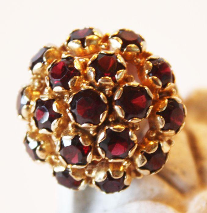 Huge Garnet & Gold Ring 1950s Estate Valentines Day Gift January birth