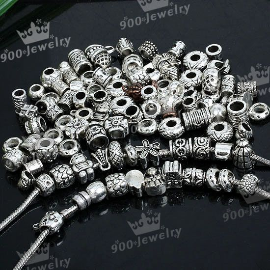 100 Tibetan Silver Mix Bead Spacer Fit CHARM Bracelet