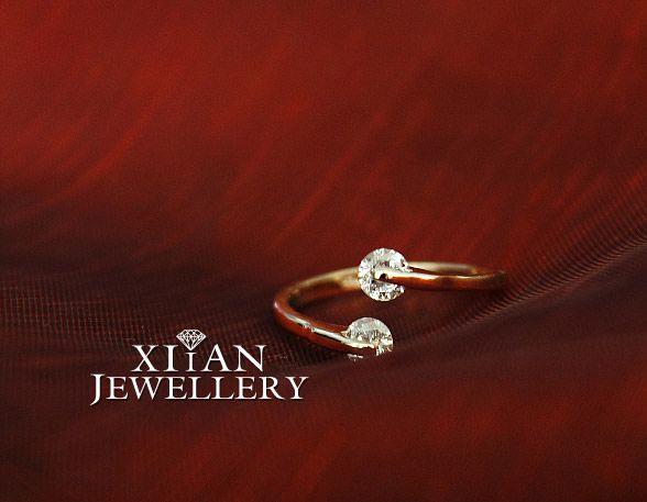 18K Rose Gold Plated Wedding Diamonds Ring