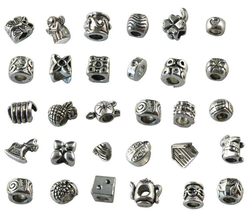 30 Assorted tibetan silver beads fit charm bracelet