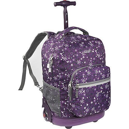 World Sunrise Rolling Backpack   Garden Purple