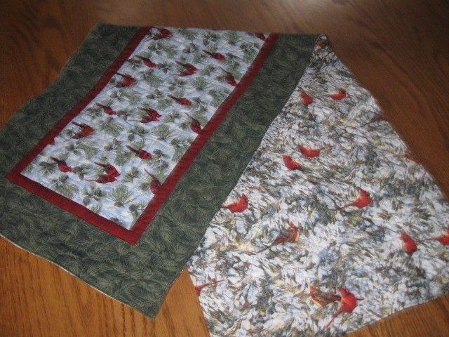 Handmade Quilted Table Runner Christmas hand pieced Birds Cardinals